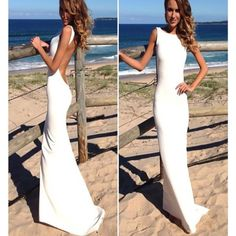 2017 New White Stain Elegant Backless Sexy Simple Evening Formal Prom Dresses.,RG0081