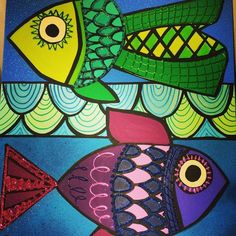 Two Fish: 20x24 Original Painting from Twiggy Originals for $195.00 on Square Market Two Fish, Floor Cloth, Pallet Painting, Fish Art, Twiggy, Fused Glass, Tangled, Zentangle, Painted Rocks