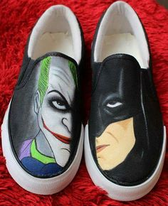 A perfect pair of hand painted shoes for you.. Batman and Joker!!