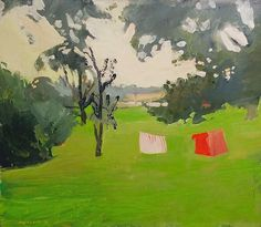 Fairfield Porter (American, 1907-1975), Clothesline, 1958. Oil on canvas, 35 ½ x 41 ½ in. (90.2 x 105.4 cm)