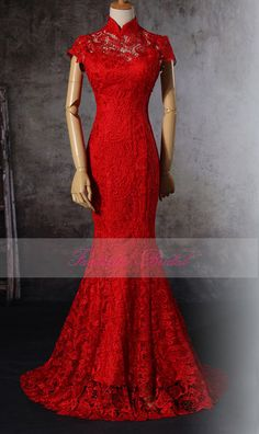 Red Traditional Lace Chinese wedding dressred by FantasticBridal, $179.00
