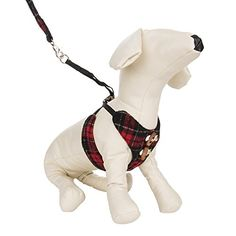 CueCue Plaid Choke Free Harness And Leash Large Red * Click image to review more details.