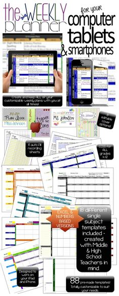 Teacher plan book. Digital and completely customizable. Keep an entire year's worth of plans in ONE FILE. 81 different planner templates. All common core standards for grades K-12. 8 different editable covers and auto-filling recording sheets. Includes HS and middle school single-subject lesson plan templates.
