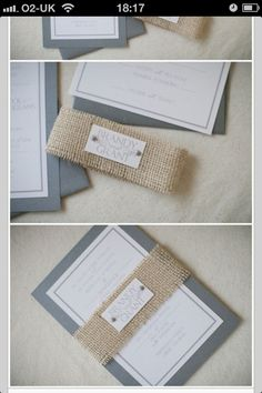 Invite w/burlap wrap, do Initial Stamp