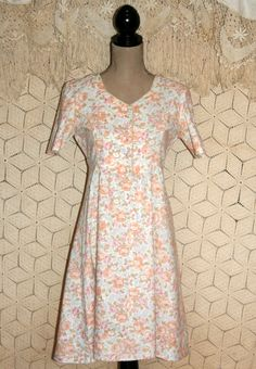 Soft Grunge Dress Peach Floral Dress Short Sleeve by MagpieandOtis