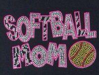 Softball mom rhinestone transfer/rhinestone shirt on Etsy, $10.00