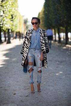 Denim shirt with destroyed boyfriend jeans
