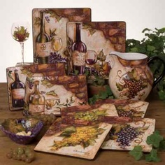 Tuscan Old World Wine Cellar 24 Pc Dinnerware Set Handpainted Grape Design On Ebay Tuscany Kitchentuscany Decorwine