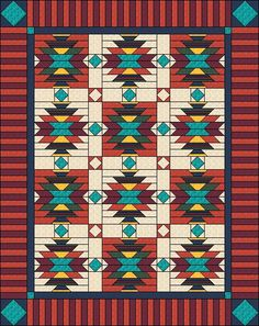 "Sud-ovest Quilt Pattern - nativi americani / indiano - Full/doppia trapunta: 76 ""x 96"""