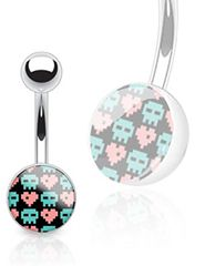 Pixel Skull And Hearts  Print Belly Button Ring - Clear Epoxy Coated Ball Navel Ring