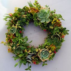 "Succulent Wreath Sweet Garden 14"" (99.99 each)"