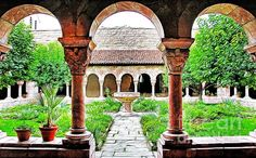 Garden and Courtyard at the Cloisters Museum in New York City