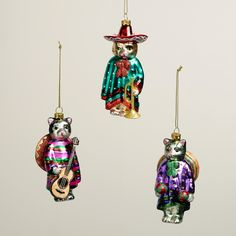 Glass Sombrero Cat Ornaments, Set of 3 | World Market