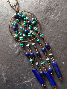 Turquoise and lapis lazuli dreamcatcher style by IvyApplesDesigns