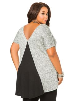 34a20f77fe2 Contrast Back Marled Knit Top. Plus Size ...