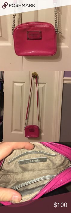 Michael Kors hot pink crosssbody bag It has been previously loved,but the bag has been well taken care of and still has a lot of life in it. It's great for a night out or a piece to spruce up your wardrobe. If you have any questions, feel free to ask!! :) MICHAEL Michael Kors Bags Crossbody Bags
