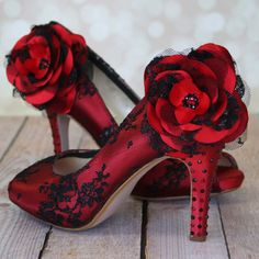 Rockabilly Wedding Shoes / Red Lace Heels by EllieWrenWeddingShoe  I don't like the price, but wonder if we could transform a pair of red ones