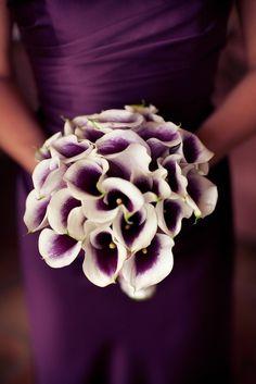 Love these dark purple wedding flowers-- cala lillies