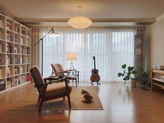 Zen Office, Office Interiors, Bauhaus, Home Organization, Living Room Designs, Sweet Home, House Design, Curtains, Interior Design