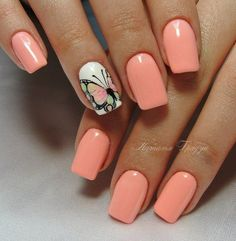 Peach nails #AcrylicNails