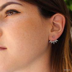 ear jacket, earring jackets, bridal earrings, minimalist, wedding earrings, ear climber, ear sweep, spike earrings, bridesmaid earrings