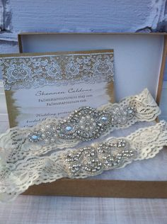 Rhinestone wedding garter /  crystal garter / lace garter / Victorian wedding garter / vintage inspired garter . $39.99, via Etsy.