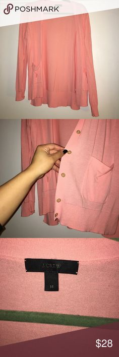 J.crew cardigan EUC. Beautiful pink color with two buttons on each side. Dry cleaned once. J. Crew Sweaters Cardigans