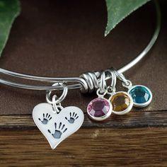 936d546b1 Items similar to Custom Birthstone Charm Bracelet, Charm Bracelet for Mom, Grandmother  Bracelet, Gift for Grandma, Mother's Bracelet, Hand Prints Jewelry on ...