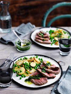Lamb mini-roast with potatoes, peas and mint recipe | BeefandLamb.com.au
