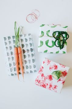 Vegetable stamped gift wrap