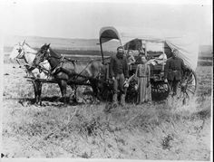 A Family with Their Covered Wagon During the Great Western Migration, 1886.