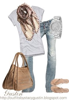 """faded jeans"" by stacy-gustin ❤ liked on Polyvore"