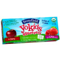 Two berry-licious flavors make it hard to choose with YoKids Cherry & Berry Squeezers.