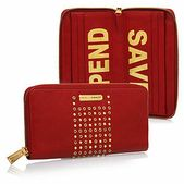 Red Shine Large Zip Around Wallet With Eyelet Detail   Save Spend Wallet, Red Shine