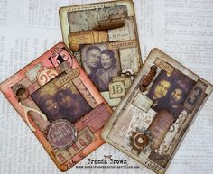 Brenda Brown as Bumblebees and Butterflies with some ATC's for A Vintage Journey; Aug 2014