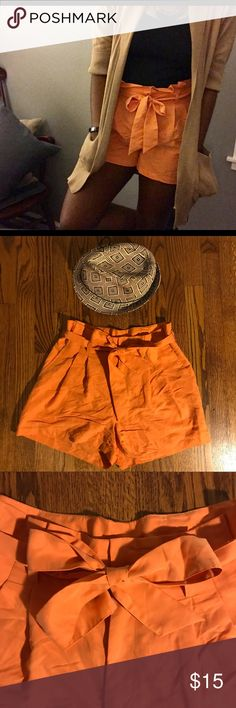 H&M | Orange High Waisted Shorts So cute! Divided (H&M) shorts that are easily casual and easily dressy. Button closure along with tie belt. Slightly flared bottom. Comfortable and chic! H&M Shorts