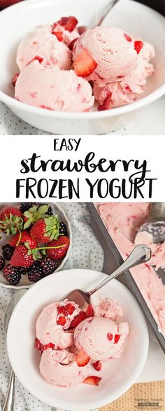 This super easy Strawberry Frozen Yogurt recipe is a great way cool off this summer and enjoy a healthy treat!