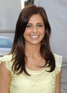 Sarah Michelle Gellar's long straight dark auburn hair - love this color