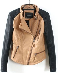 Khaki Long Sleeve Zipper Pockets Leather Jacket - Sheinside.com