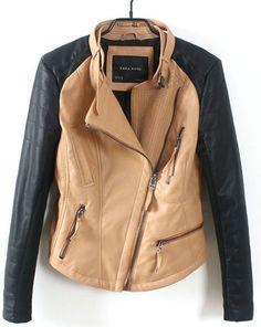 Blouson zippé en cuir avec poches