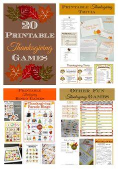 20 Printable Thanksgiving Games - Bingo, Word Scramble, Scavenger hunts, and more.