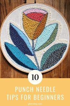 Hand Embroidery For Beginners A punch needle embroidery tutorial for beginners and top tips to help teach you the craft of punch needle. Ideas, tips and pictures for punch needle embroidery patterns. Punch Needle Kits, Punch Needle Patterns, Embroidery Patterns Free, Hand Embroidery Stitches, Embroidery Needles, Crewel Embroidery, Embroidery For Beginners, Hand Embroidery Designs, Embroidery Techniques