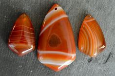 Striped Onyx Agate Drop Stone Pendant Set (3), Designer Gemstone Pendant, Natural Stone, Red Brown Stone Focal Bead by TheBeadBandit on Etsy