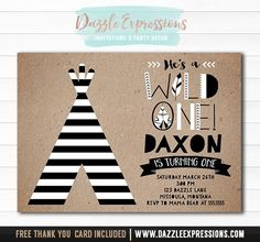 Printable Modern Tribal Wild One Birthday Invitation | DIY 1st Birthday Party | Boys First Birthday | Black and White Striped Teepee | Cupcake Toppers | Favor Tags | Signs | Water Bottle Labels | Banner | Matching Party Package Decor Available.