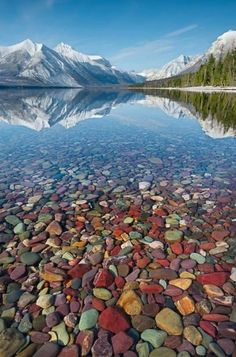 "McDonald Lake, Montana, Glacier National Park - our girls always referred to this as ""bean stream.""  It looks like the 4 bean cassarole that I always made."