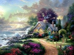 Thomas Kinkade A New Day Dawning painting for sale - Thomas Kinkade A New Day Dawning is handmade art reproduction; You can buy Thomas Kinkade A New Day Dawning painting on canvas or frame. Thomas Kinkade Art, Kinkade Paintings, Thomas Kincaid, Art Thomas, Scenery Paintings, Cottage Art, Oil Painting Reproductions, Bob Ross, Beautiful Paintings