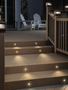 stair lighting ideas for the patio/deck. Would also be great at the front entrances for nighttime visitors!