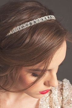 Sarah Seven showcases this elegant Emerald Cut wedding headband for the Fall 2013 collection.