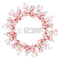 Detailed contour wreath with herbs, roses and wild flowers isolated on white. Round frame for your design, greeting cards, wedding announcements, posters. Round Frame, Wedding Announcements, Contour, Vector Art, Wild Flowers, Your Design, Greeting Cards, Clip Art, Herbs