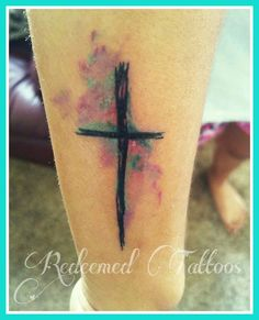 watercolor tattoo and cross on arm. #newink #redeemedtattoos